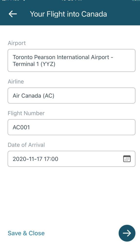 ArriveCAN Flight info